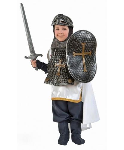 Детский костюм рыцаря-крестоносца : туника, плащ, штаны, накладки на обувь, щит, меч, шлем, доспехи (Италия)