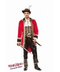 костюм  Капитан пиратов: пиджак, рубашка с жабо, штаны, шляпа, накладки на обувь (Италия)