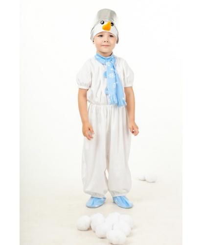 Детский костюм снеговичка: комбинезон, шапка (Россия)