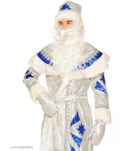 костюм деда  мороза серебряно-синий: шуба, пояс, шапка ,варежки,мешок,борода,парик (Россия)
