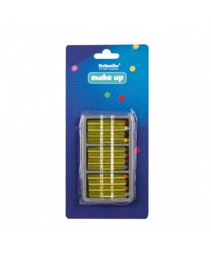 Набор грима, карандаши: черный, белый, голубой, коричневый, красный, золотой, зеленый, желтый, розовый, оранжевый, серебряный, фиолетовый (Германия)