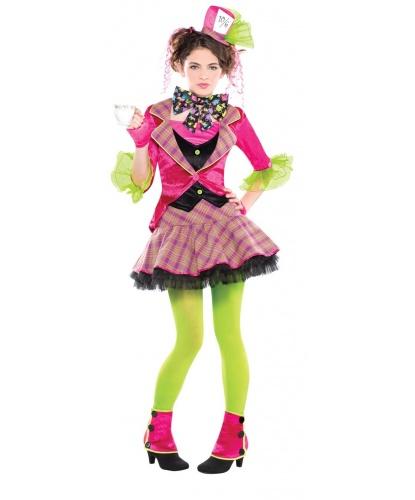 Костюм Шляпника на девочку, подростковый: платье, шляпка на заколке, бабочка на шею, леггинсы, гамаши, митенки (Германия)