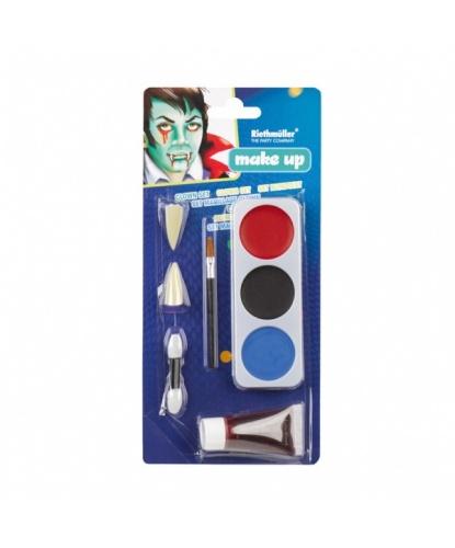 Набор грима, 3 цвета, 2 кисточки, кровь, клыки: черный, синий, красный (Германия)