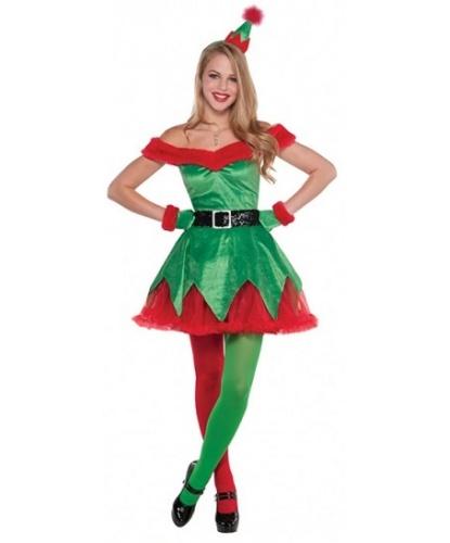 Костюм помощницы Санта-Клауса: платье, головной убор, перчатки, пояс (Германия)