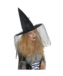 Колпак ведьмы из сатина с розочкой и черным пером