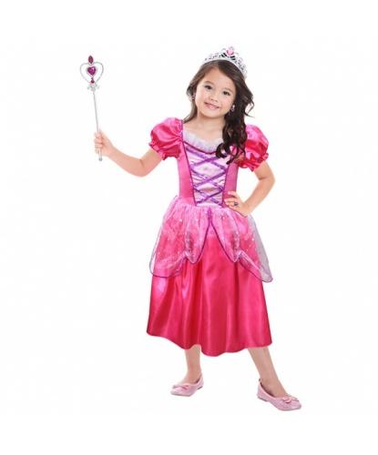 Розовое платье принцессы с аксессуарами : платье, диадема, кольцо, клипсы, палочка (Германия)