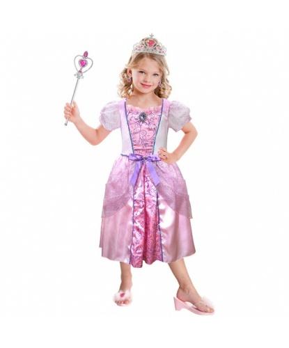 Нежно-розовое платье принцессы с аксессуарами : платье, диадема, кольцо, клипсы, палочка (Германия)