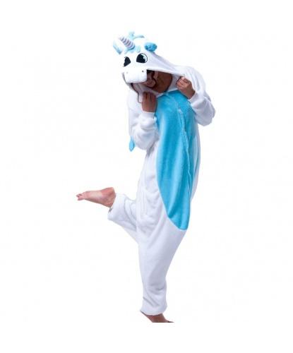 Кигуруми Единорог (бело-голубой): комбинезон с капюшоном (Китай)