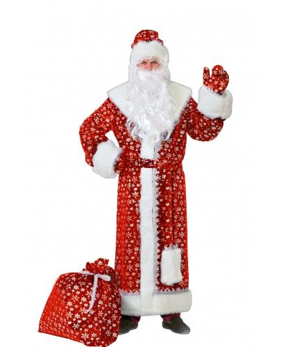 Костюм Дед Мороз: шуба, шапка, пояс, варежки, парик, борода, мешок (Россия)