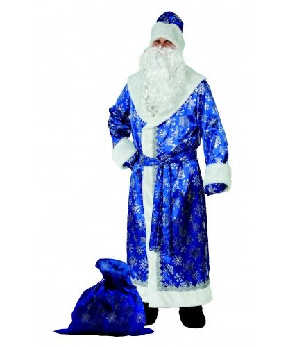 костюм деда мороза сатин синий: шуба, пояс, шапка ,борода,мешок (Россия)