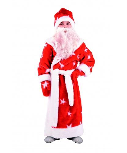 Детский костюм Деда Мороза: шуба, пояс, шапка, рукавицы, борода на резинке (Россия)