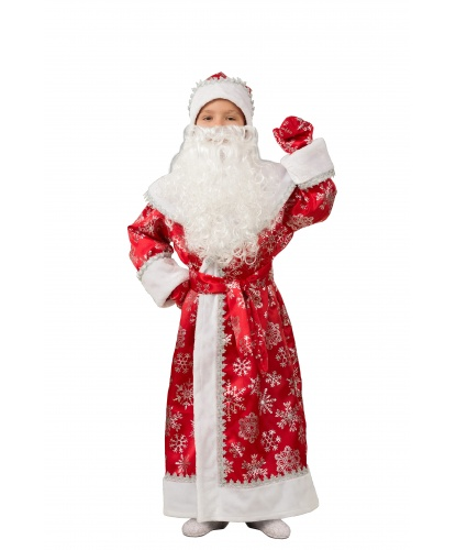 Костюм Деда мороза на ребенка: шуба, пояс, шапка ,борода,варежки. (Россия)