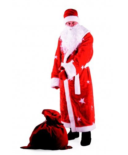 Костюм Деда Мороза (искусственный мех): шуба, шапка, варежки, пояс, борода, мешок (Россия)