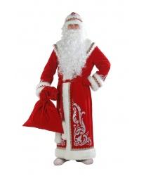 Костюм Деда Мороза, красный с аппликацией: шуба, шапка, пояс, варежки, борода (Россия)