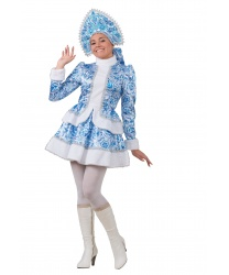 Костюм Снегурочка Гжель: кафтан, короткая юбка, кокошник (Россия)
