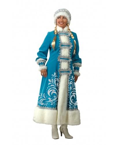 Расписная шуба снегурочки: шуба, шапка, парик с косами (Россия)