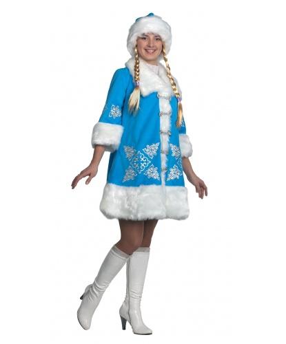Костюм снегурочки с вышивкой: шуба, шапка, парик с косами (Россия)