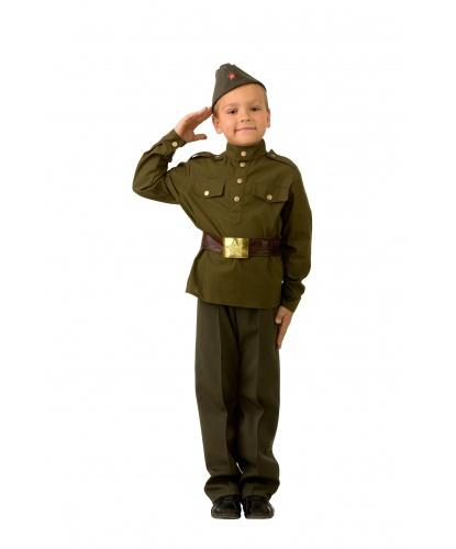 Детский военный костюм солдата: пилотка, гимнастерка, брюки, пояс (Россия)