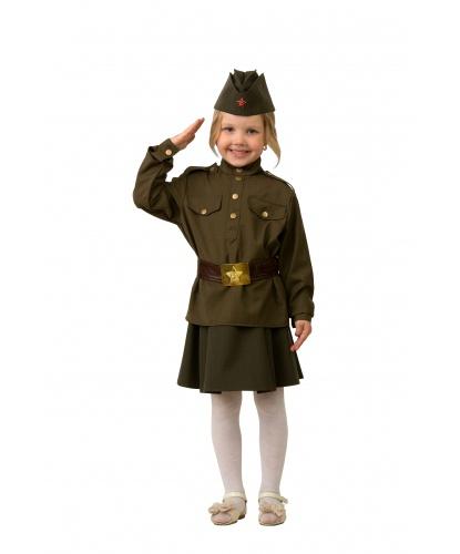 Детский военный костюм Солдатка: юбка, рубашка, пилотка, ремень (Россия)