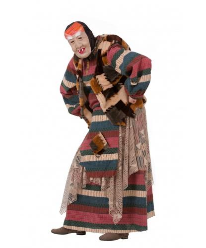 Костюм лесной Бабы Яги: кофта, жилетка, юбка, латексная маска (Россия)