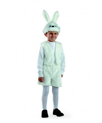 Детский костюм белого зайца: головной убор, жилетка, шорты (Россия)