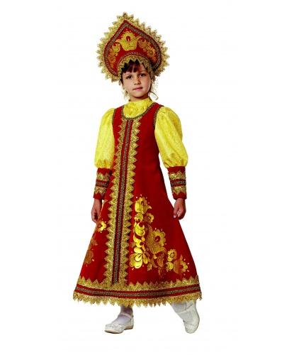Костюм русский народный Сударушка: платье-сарафан, кокошник (Россия)