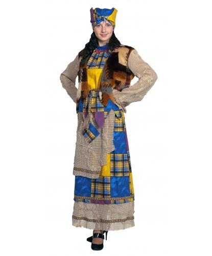 Костюм Бабы Яги: юбка с передником, блуза, кардиган, косынка с волосами (Россия)