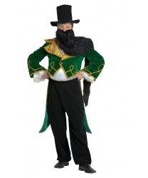 Костюм Карабаса: блуза с имитацией живота,фрак с воротником,брюки,манжеты,шляпа, борода (Россия)