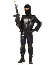 Костюм агента S.W.A.T.: маска, комбинезон, жилет, наколенники, налокотники, пояс (Италия)
