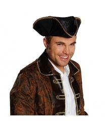 Черная пиратская треуголка с золотой каймой
