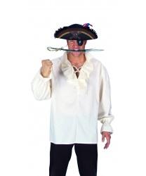 Белая пиратская рубаха с оборкой