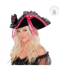Пиратская шляпа с розовой тесьмой