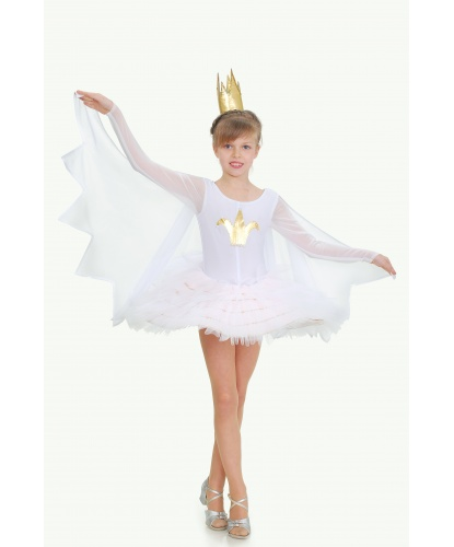Костюм лебедя с пачкой: комбидресс, юбка, корона (Украина)