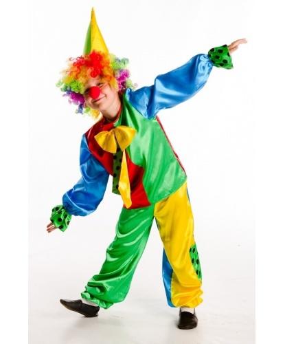 Костюм веселого клоуна: брюки, блузка с галстуком, парик, колпак, нос (Украина)