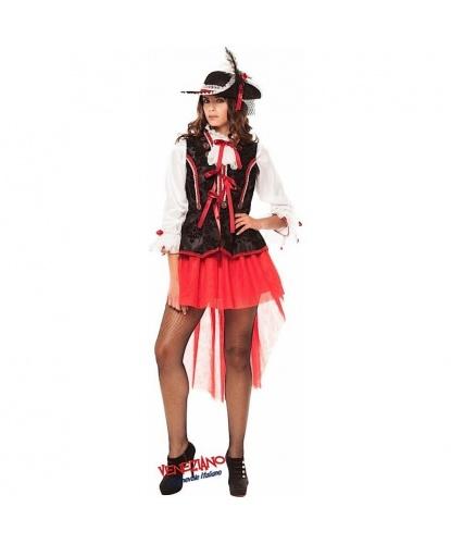 Взрослый костюм пиратки-повелительницы морей: юбка, рубашка, жилетка, шляпа (Италия)