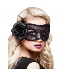 Черная кружевная маска с цветком
