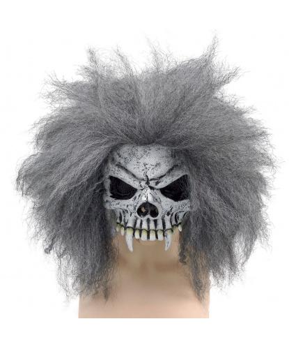 Полумаска скелета с седыми волосами, полиэстер, латекс (Германия)