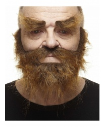 Коричневая лохматая борода и брови