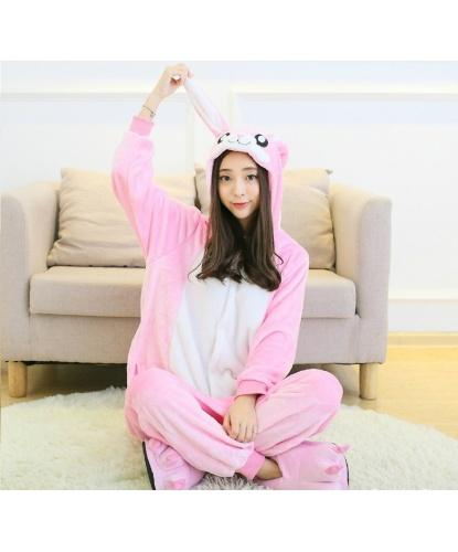 Кигуруми розовый кролик: комбинезон с капюшоном (Китай)