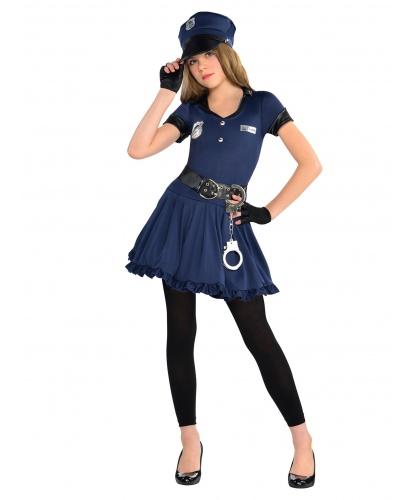 Костюм полицейской для девочки: платье, фуражка, пояс, митенки, леггинсы, наручники (Германия)