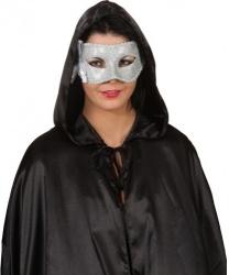 Венецианская маска серебряного цвета с бантиком