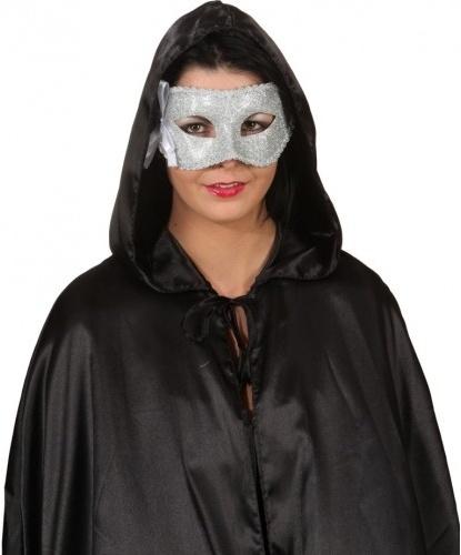 Венецианская маска серебряного цвета с бантиком, пластик, ткань, блестки (Германия)