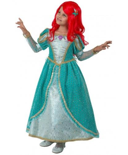 Карнавальный костюм Принцесса Ариэль: платье, подъюбник,парик,брошь-ракушка, заколка-звезда (Россия)