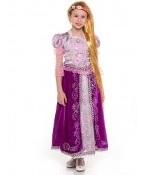 Карнавальный костюм Принцесса Рапунцель: платье, парик, брошь (Россия)