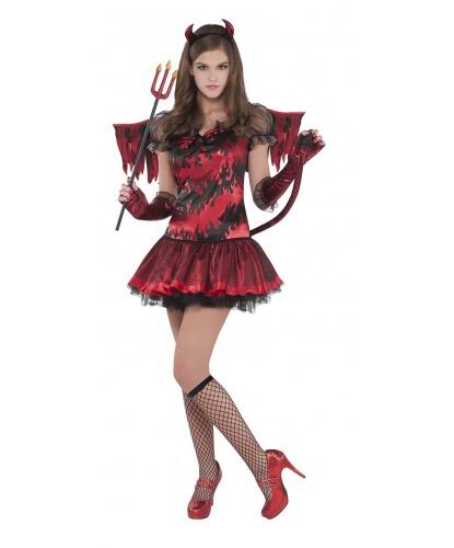 Костюм дьяволицы, подростковый: платье, крылья, перчатки, гольфы, рожки (Германия)