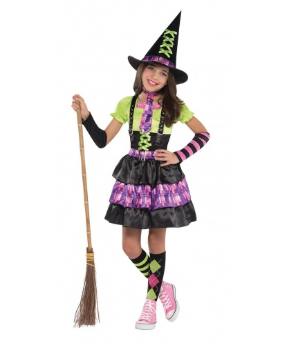 Костюм яркой Ведьмочки: платье, колпак, гольфы, галстук, нарукавники (Германия)