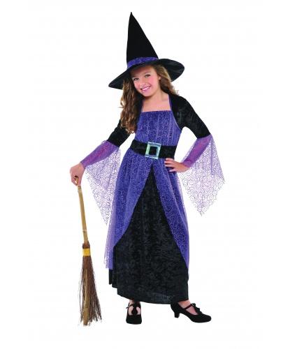 Детский костюм ведьмы в классическом стиле: платье, шляпа, пояс (Германия)