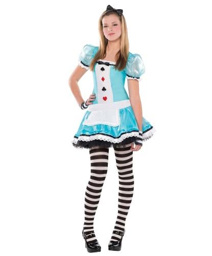 Костюм Алисы, подростковый: платье, колготки, митенки, ободок (Германия)