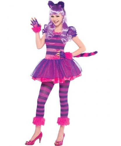 Костюм Чеширского кота, подростковый: платье, легиннсы, перчатки, ободок с ушками (Германия)