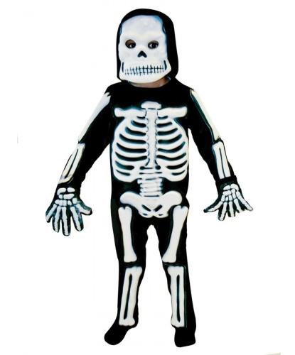 Детский костюм скелета с объемными костями: комбинезон, маска-капюшон, перчатки (Германия)